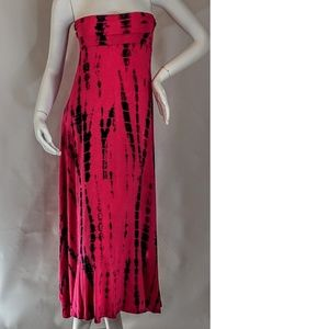 Love In Dresses - Sexy Strapless Pink & Black Tie Dye Dress